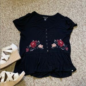 Size XL Black American Eagle Peplum Shirt